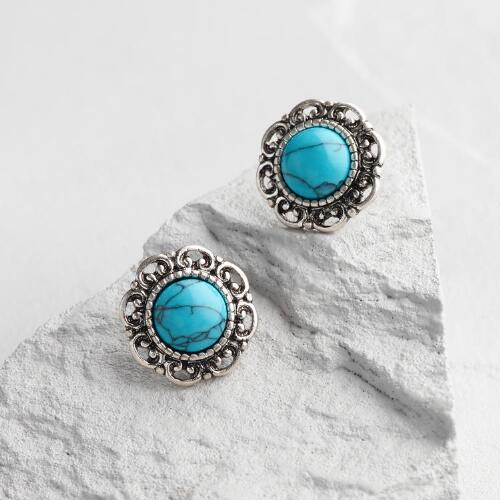 Large Silver and Turquoise Stud Earrings