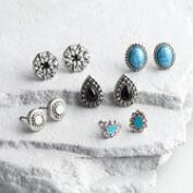 Silver, Turquoise and Black Stud Earrings Set of 5