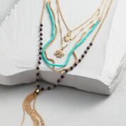 Gold Hamsa, Elephant and Tassel Charms Multi Strand Necklace