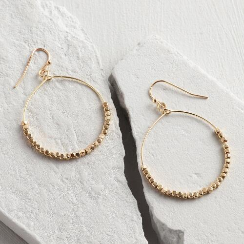 Gold Hoops With Bottom Beads Earrings