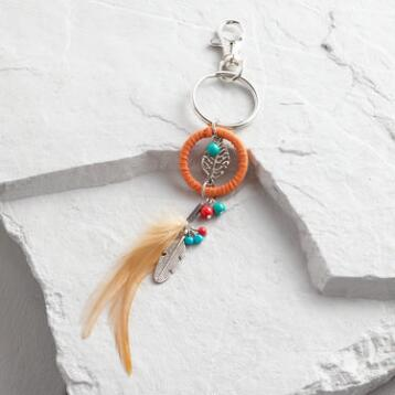 Silver Feather and Suede Keychain