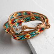 Turquoise and Brown Southwest Wrap Bracelet