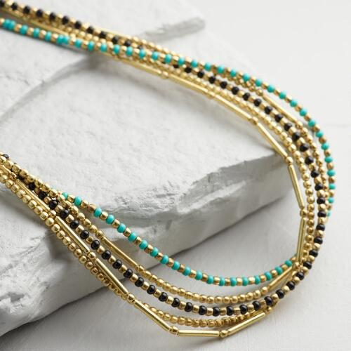 Gold, Turquoise and Black Multi Strand Necklace