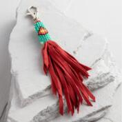 Red and Turquoise Suede Fringe Keychain
