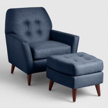 Midnight Blue Tufted Arlo Chair and Ottoman Set