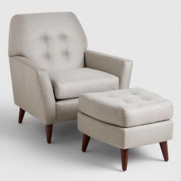 Vapor Gray Tufted Arlo Chair and Ottoman Set