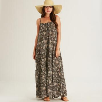 Black Kalamkari Meryl Maxi Dress