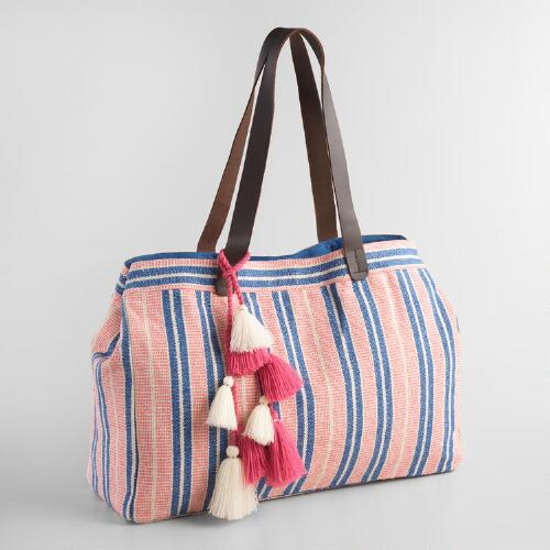 Large Blue and Pink Stripe Tote