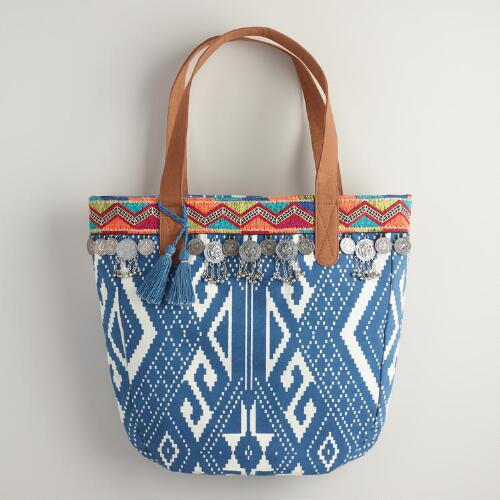 Blue Geometric Embroidered Tote Bag