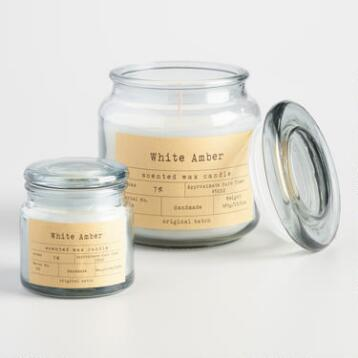 White Amber Apothecary Jar Candle
