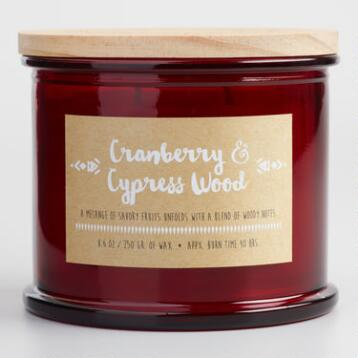 Cranberry and Cypress Medallion Stamped Lid Jar Candle