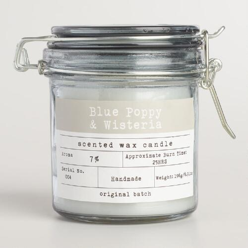 Blue Poppy and Wisteria Glass Candy Jar Candle