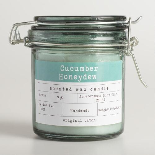 Cucumber Honeydew Glass Candy Jar Candle