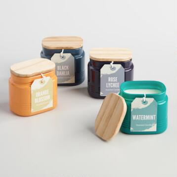 Opaque Glass and Wood Lid Jar Candle Collection