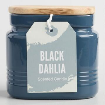 Black Dahlia Opaque Glass Jar Candle with Wood Lid