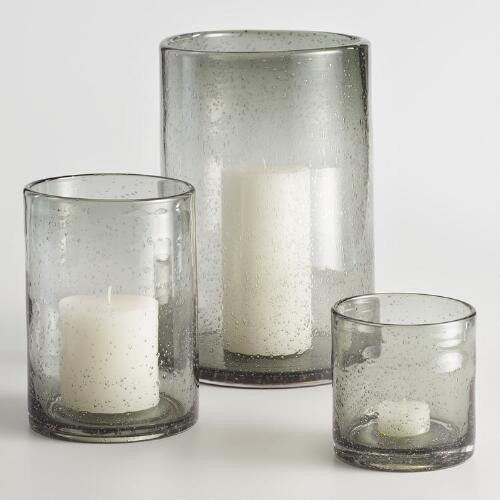 Gray Bubble Glass Aubree Hurricane Candleholder