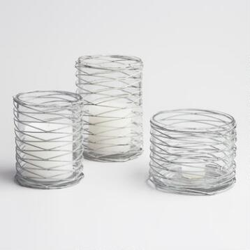 Wire Wrapped Glass Hurricane Candleholder