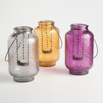 Embossed Glass Myra Lantern