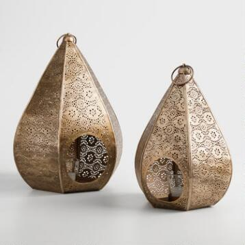 Antique Brass Teardrop Lantern