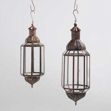 Hexagonal Antique Copper Layla Hanging Lantern