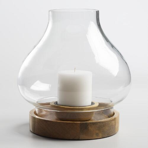 Glass Deco Candleholder with Wood Base