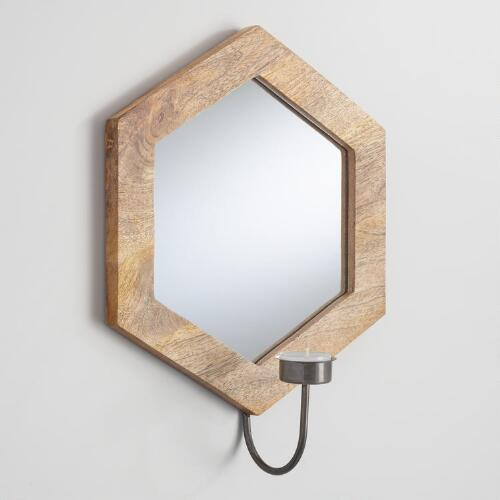 Mirrored Wood Griffin Hexagon Sconce