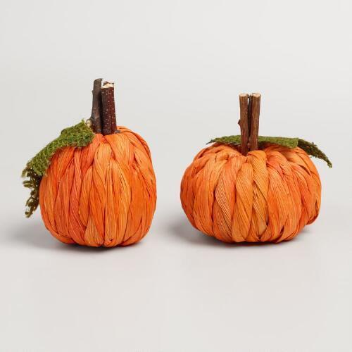 Mini Cornhusk Pumpkins Set of 2