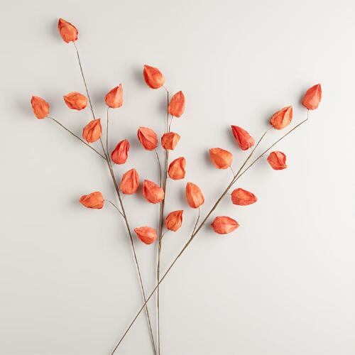 Orange Paper Lantern Stems Set of 3