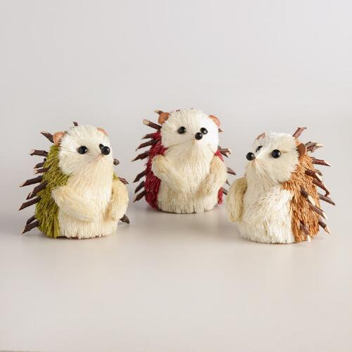 Mini Natural Fiber Hedgehogs Set of 3