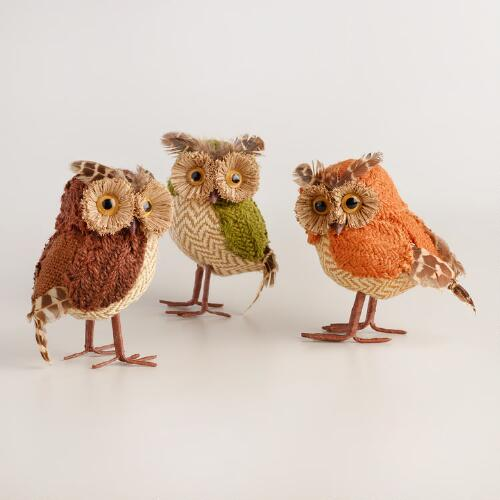 Natural Fiber Owls Set of 3