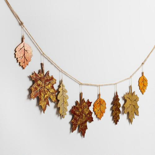 Shimmering Wood Leaf Garland