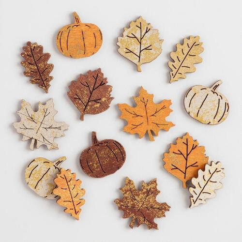 Shimmering Wood Scatter Leaves and Pumpkins Set of 2