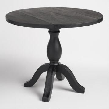Round Black Wood Jozy Drop Leaf Table