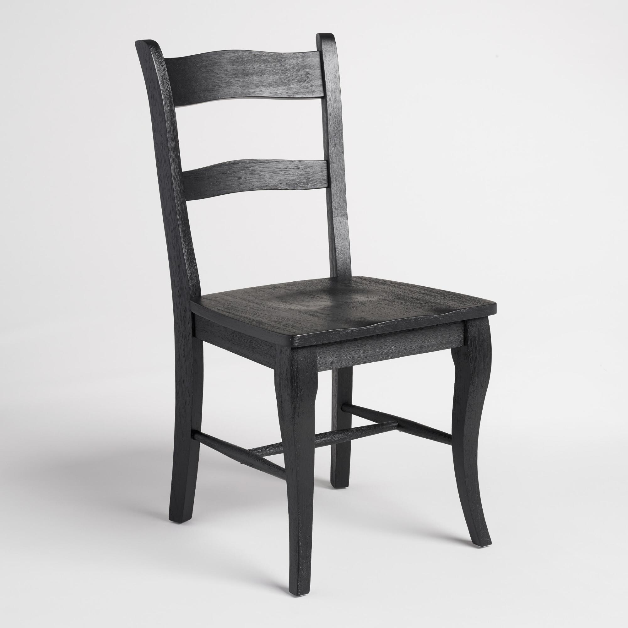 Black wood jozy dining chairs set of 2 world market for 2 dining room chairs