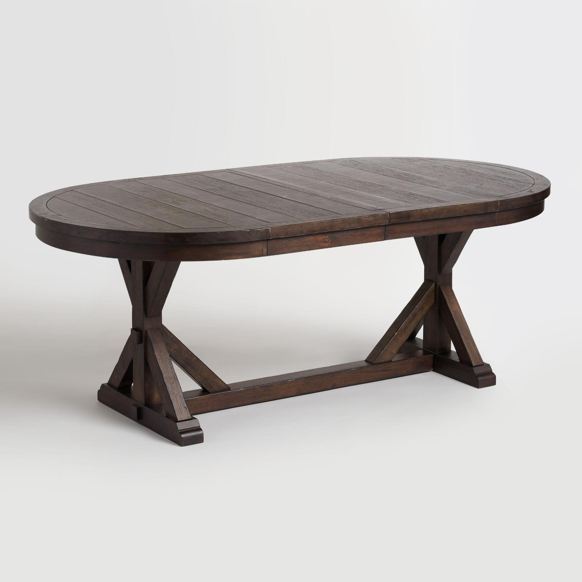 Rustic brown oval wood brooklynn extension dining table for Dinner table wood