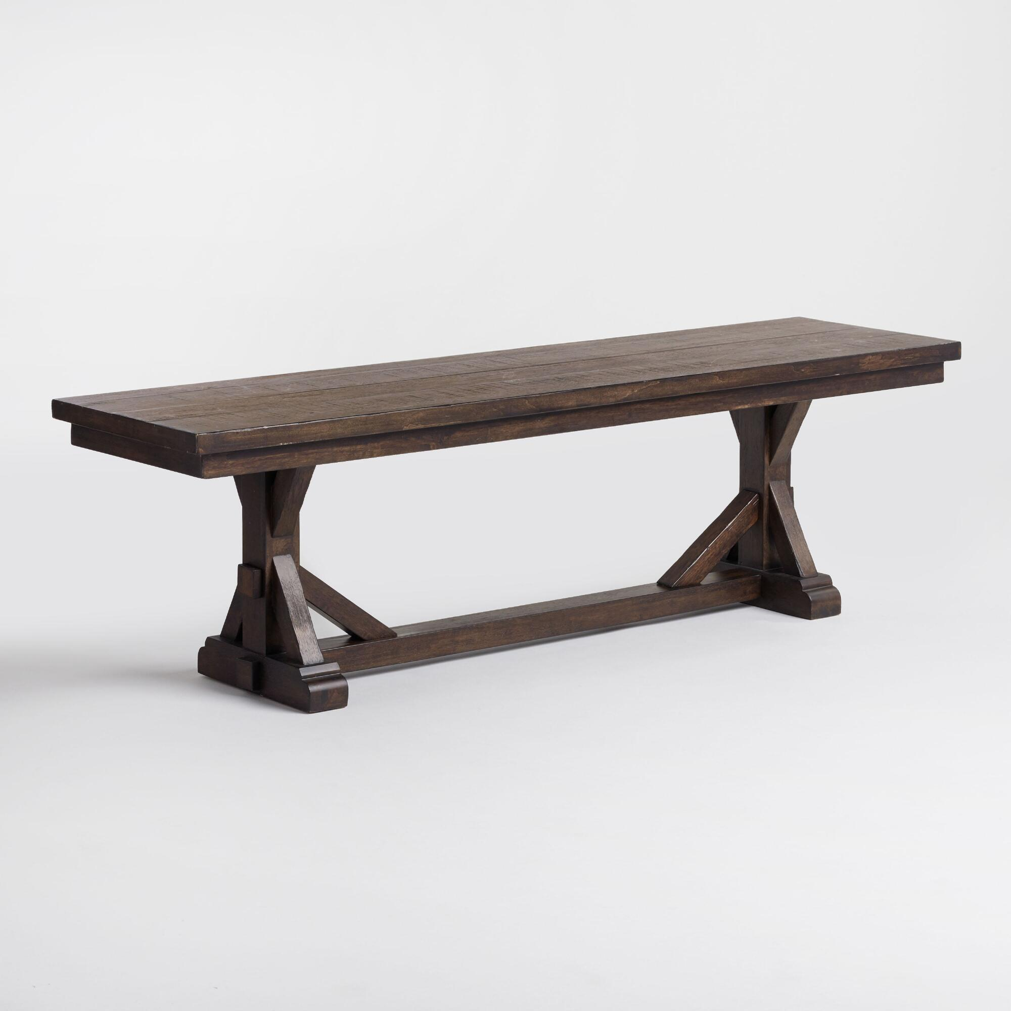 Dining Benches: Rustic Brown Wood Brooklynn Dining Bench
