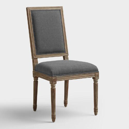 Charcoal Linen Paige Square Back Dining Chairs Set of 2