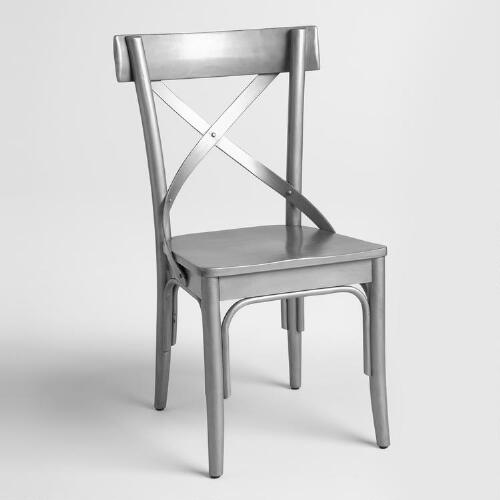 Gunmetal Wood French Bistro Chairs Set of 2