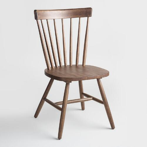 Walnut Brown Wood Stafford Windsor Chairs Set of 2