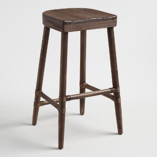 Walnut Brown Wood Kaja Barstool with Saddle Seat