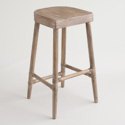 Gray Wood Kaja Barstool with Saddle Seat