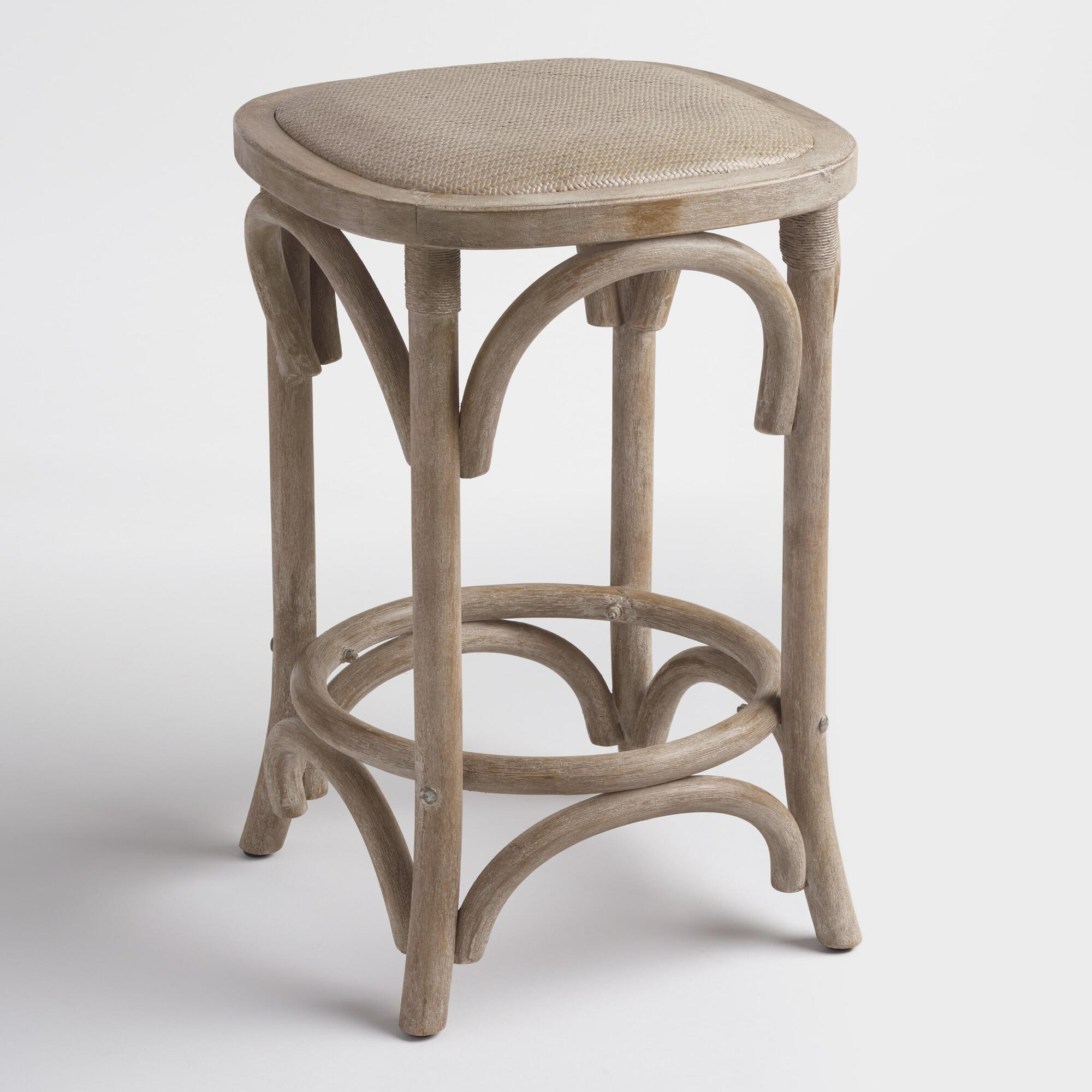 Gray yasmin backless counter stool with rattan seat for Counter stools