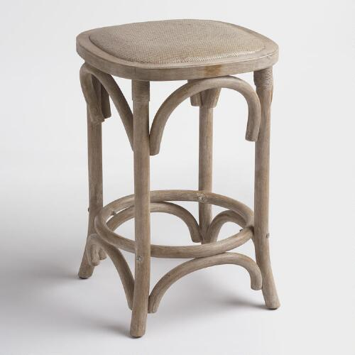 Gray Yasmin Backless Counter Stool with Rattan Seat