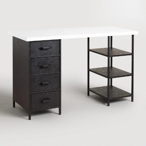 Lacquer Craft Height Colton Mix & Match Desk with Shelf and Drawers