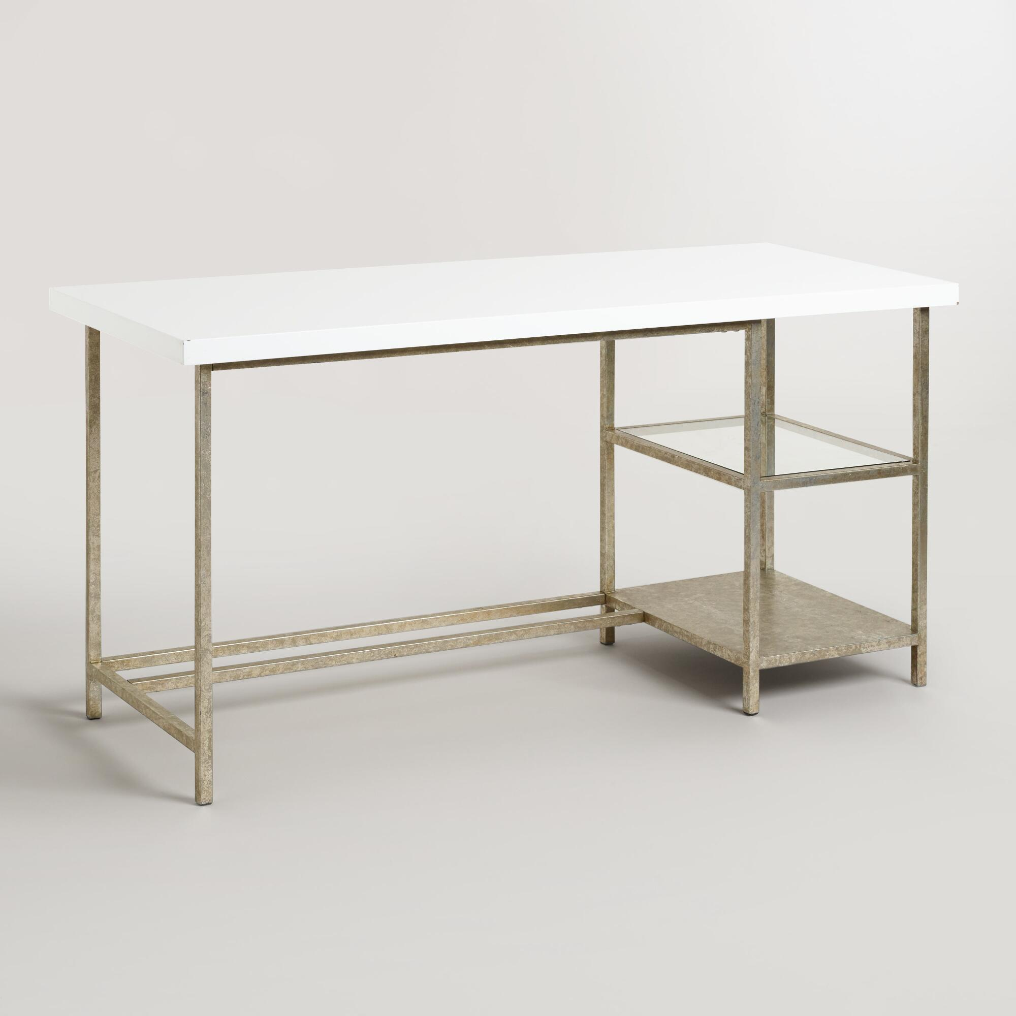 White Lacquer And Burnished Gold Colton Mix Match Desk