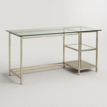 Glass Top and Burnished Gold Colton Mix & Match Desk