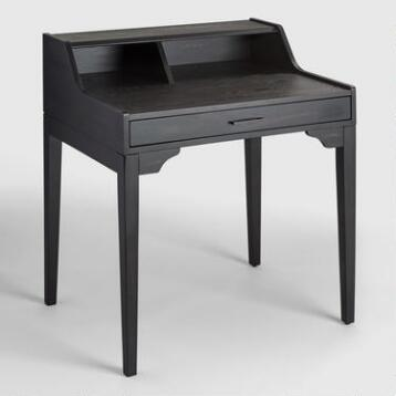 Small Black Wood Tilley Storage Desk