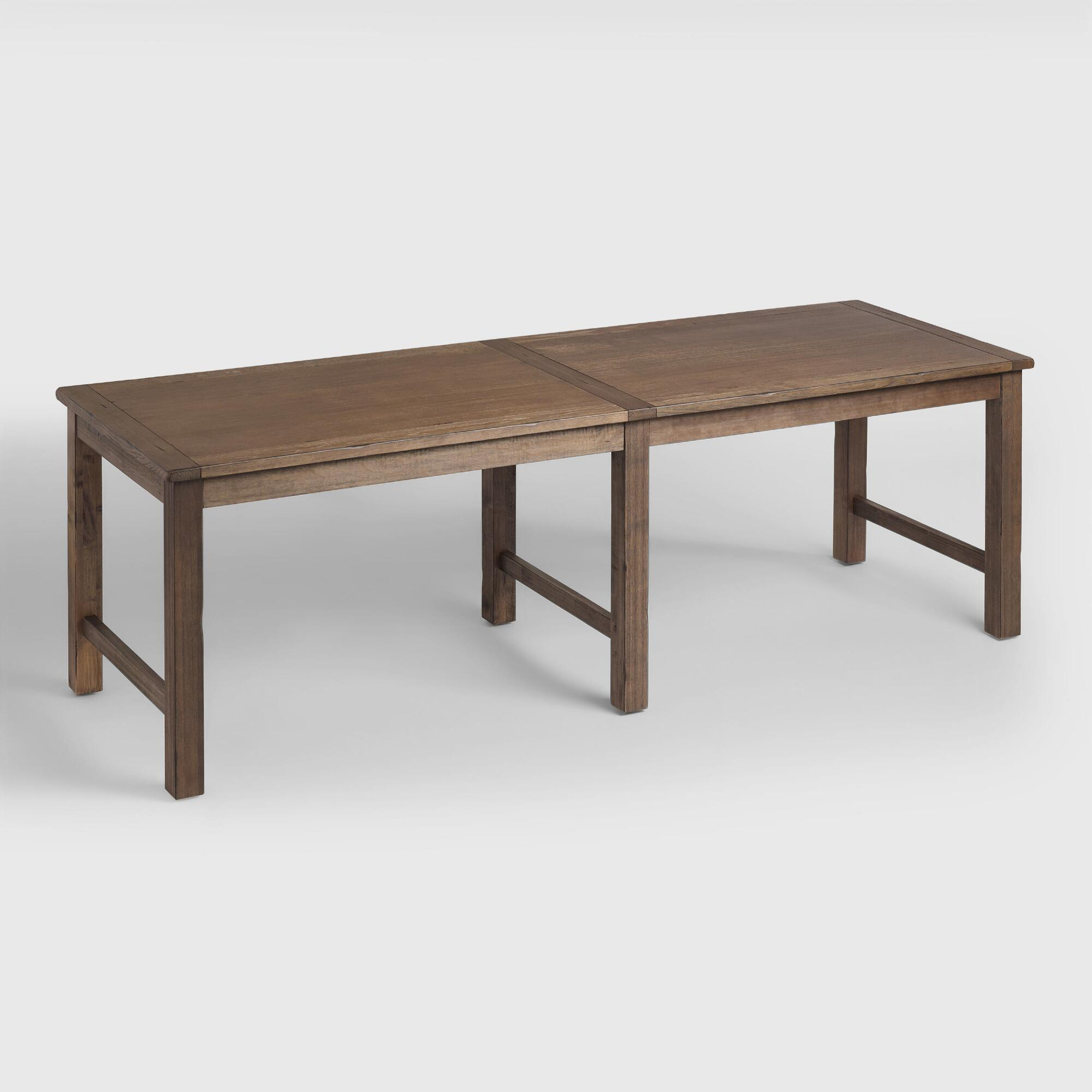 Distressed brown wood gulianna extra long dining table world market - Long skinny dining table ...