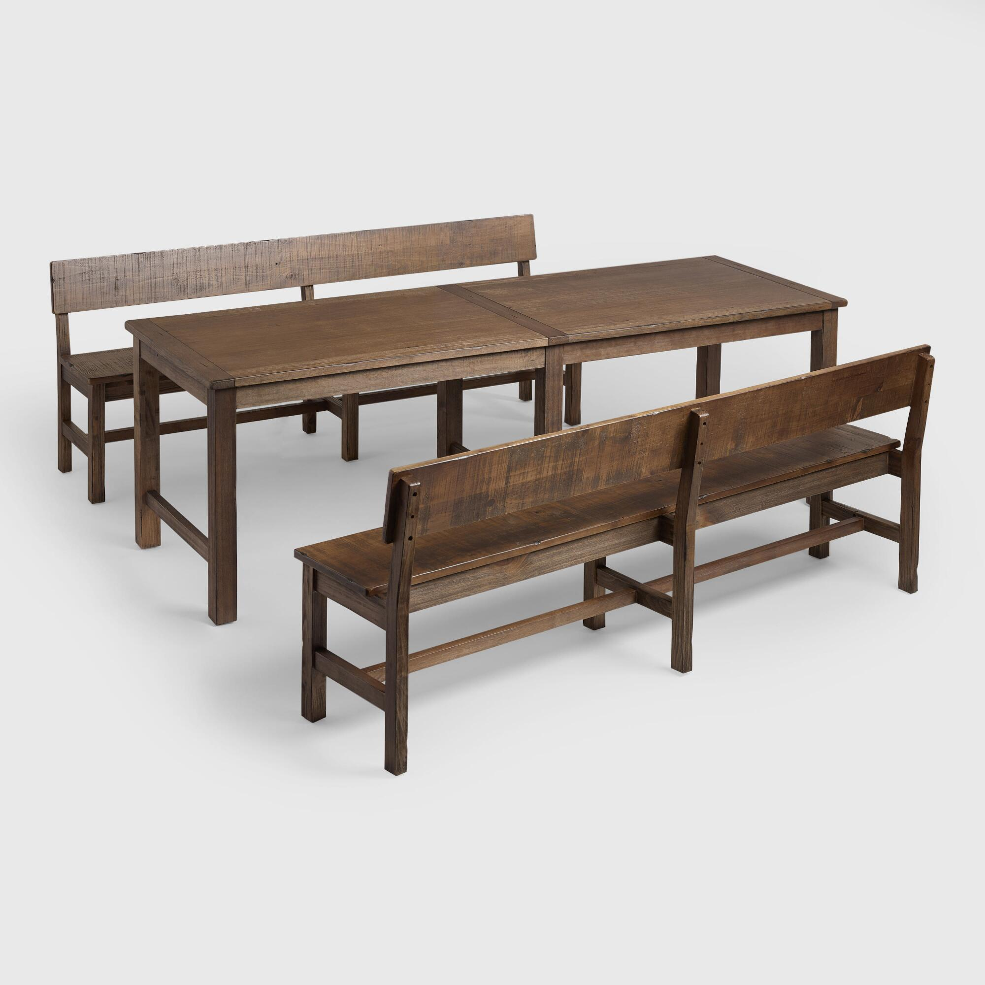 Distressed brown gulianna extra long dining collection for Extra small dining table