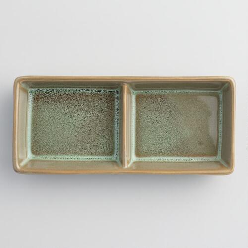 Green Zen 2 Section Sauce Dishes Set of 4